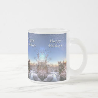 Happy Holidays Snowy Creek Frosted Glass Coffee Mug