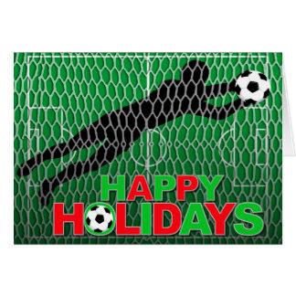 Happy Holidays Soccer Field Goal Card