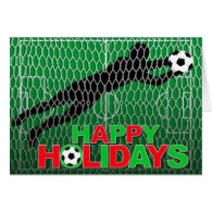 Happy Holidays Soccer Field Goal Cards