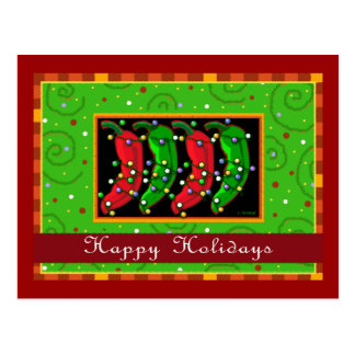 Happy Holidays Southwest Chiles Post Cards