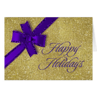 Happy Holidays Sparkly Gold w Purple Glittery Bow Card
