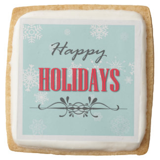 Happy Holidays Square Shortbread Cookie