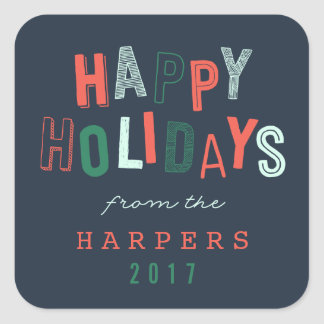 HAPPY HOLIDAYS SQUARE STICKER