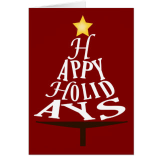 Happy Holidays Stacked Christmas Tree Card