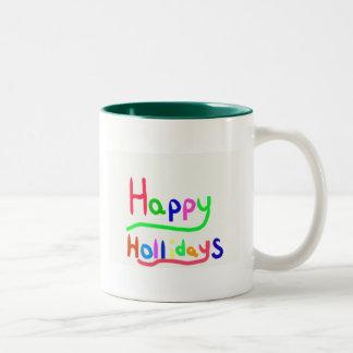 Happy Holidays stamp Two-Tone Coffee Mug
