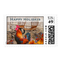 Happy Holidays Stamps, Rustic Country Rooster Postage