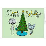 happy holidays stick figure and cat greeting card