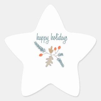 Happy Holidays Star Sticker