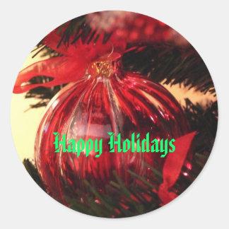Happy Holidays Round Stickers