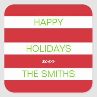 Happy Holidays Sticker (Red and White)