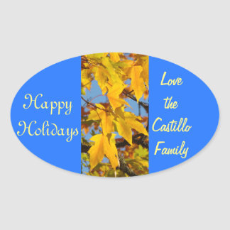 Happy Holidays stickers seals Love Family Name