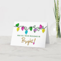 Happy Holidays, String of Bright Christmas Lights Card