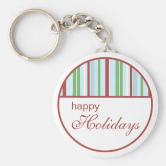 Happy Holidays Striped Christmas Keychain