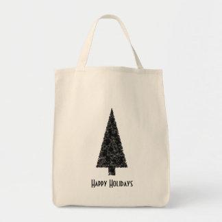 Happy Holidays. Stylish Tree. Black White. Tote Bag