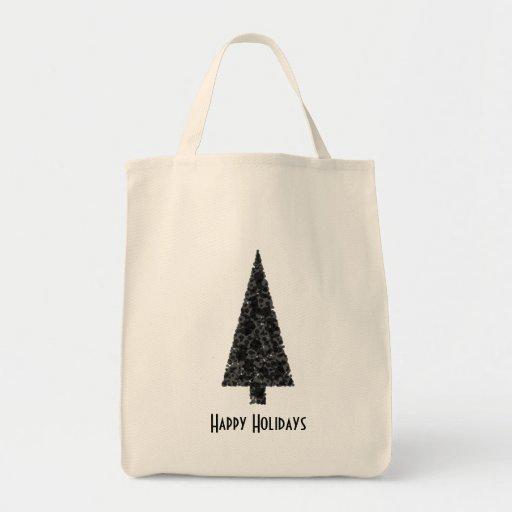 Happy Holidays. Stylish Tree. Black White. Grocery Tote Bag