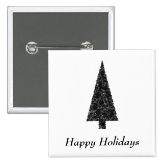Happy Holidays. Stylish Tree. Black White. Pin