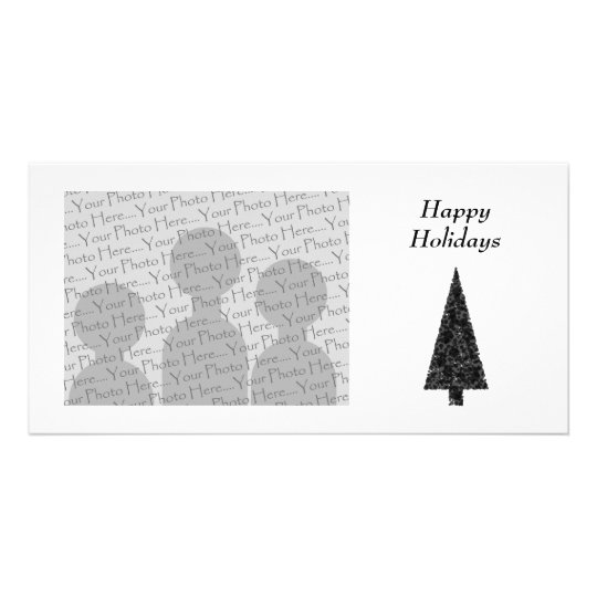 Happy Holidays. Stylish Tree. Black White. Card