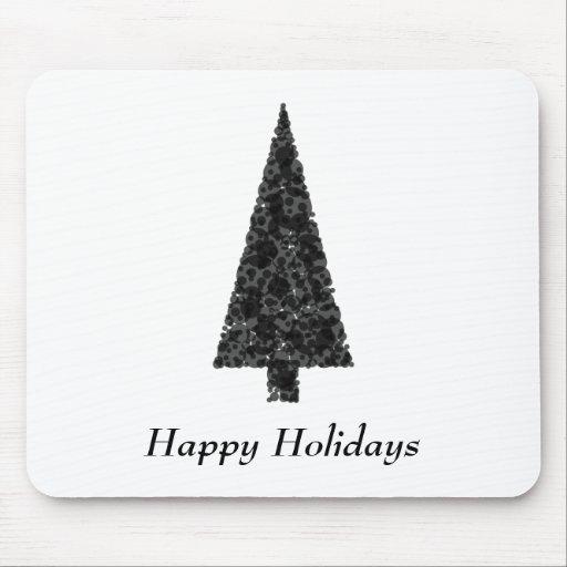 Happy Holidays. Stylish Tree. Black White. Mouse Pad