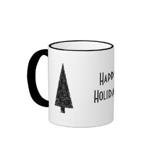 Happy Holidays. Stylish Tree. Black White. Mug