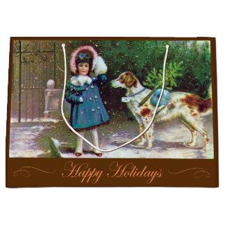 Happy Holidays Stylish Vintage Gift Bag