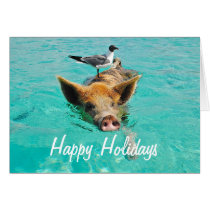Happy Holidays Swimming Pig Card