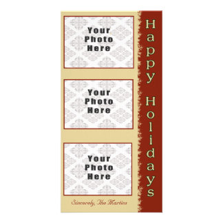 Happy Holidays Tan/Red 3 Photo 4x8 Card
