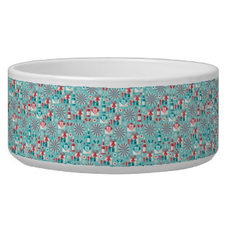 Happy Holidays Teal Blue and Red Pattern Bowl