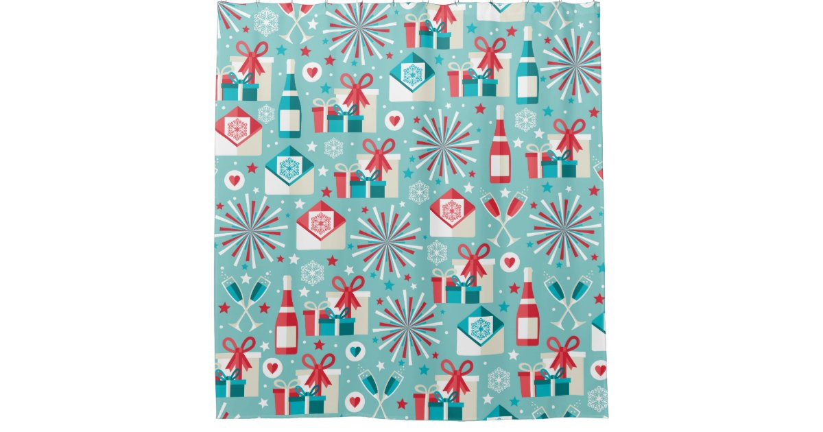 Happy Holidays Teal Blue And Red Pattern Shower Curtain