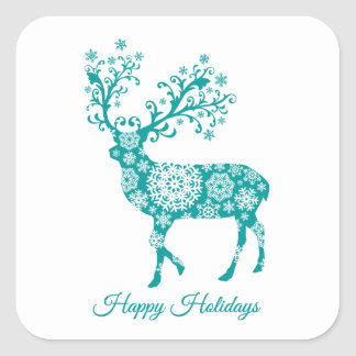 Happy holidays, teal deer with snowflakes ornament square sticker