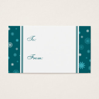 Happy Holidays Teal Snowflakes Gift Tags