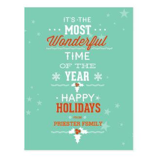 Happy Holidays Teal White & Orange Text Design Postcard