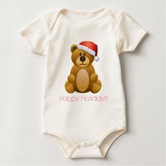 Happy Holidays Teddy Bear Baby Bodysuit