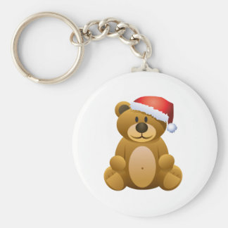 Happy Holidays Teddy Bear Basic Round Button Keychain