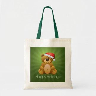 Happy Holidays Teddy Bear Budget Tote Bag