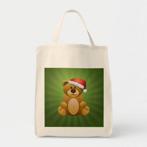 Happy Holidays Teddy Bear Grocery Tote Bag