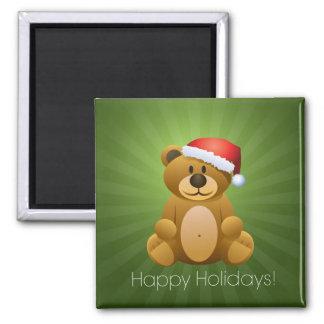 Happy Holidays Teddy Bear Fridge Magnets