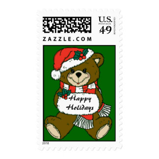 Happy Holidays Teddy Bear Stamps