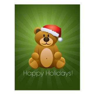Happy Holidays Teddy Bear Postcard