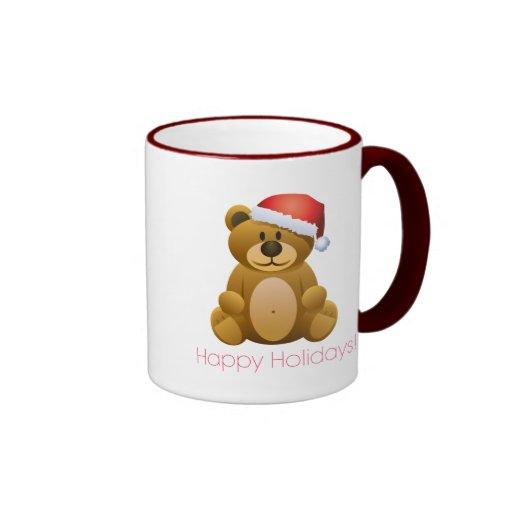 Happy Holidays Teddy Bear Ringer Coffee Mug