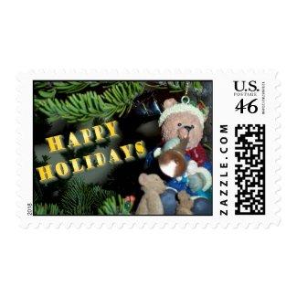 Happy Holidays Teddy Bear Stamp stamp
