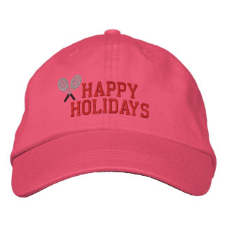 Happy Holidays Tennis Embroidered Hat