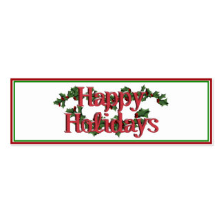 Happy Holidays Text Design Double-Sided Mini Business Cards (Pack Of 20)