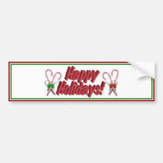 Happy Holidays Text Design with Candy Canes Bumper Sticker