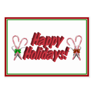 Happy Holidays Text Design with Candy Canes Business Card Templates