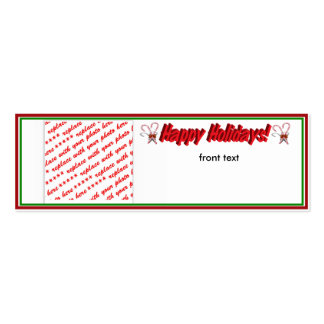 Happy Holidays Text Design with Candy Canes Business Cards