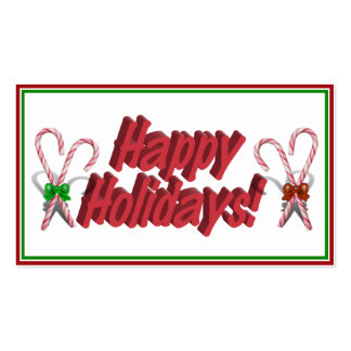 Happy Holidays Text Design with Candy Canes Business Card