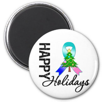 Happy Holidays Thyroid Cancer Awareness 2 Inch Round Magnet
