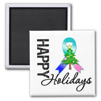 Happy Holidays Thyroid Cancer Awareness 2 Inch Square Magnet