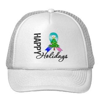 Happy Holidays Thyroid Cancer Awareness Trucker Hat
