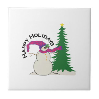 Happy Holidays Small Square Tile